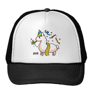 Happy New Year Llama Trucker Hat