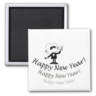 Happy New Year 2 Inch Square Magnet