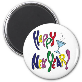Happy New Year Martini Glass Magnets