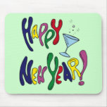 Happy New Year Martini Glass Mouse Pad