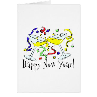 Happy New Year Martini Glasses Card