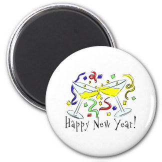 Happy New Year Martini Glasses Fridge Magnets