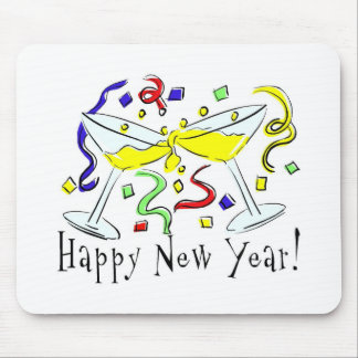 Happy New Year Martini Glasses Mouse Pad