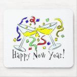 Happy New Year Martini Glasses Mousepad