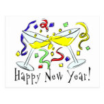 Happy New Year Martini Glasses Post Card