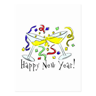 Happy New Year Martini Glasses Postcard
