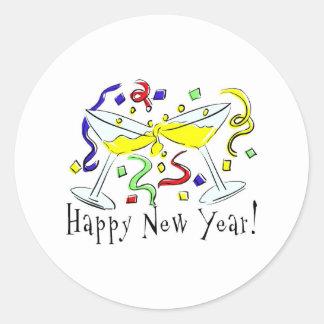 Happy New Year Martini Glasses Stickers