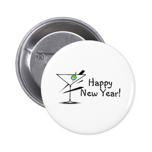 Happy New Year Martini Pinback Buttons