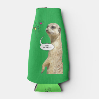 Happy New Year Meerkat Bottle Cooler Green