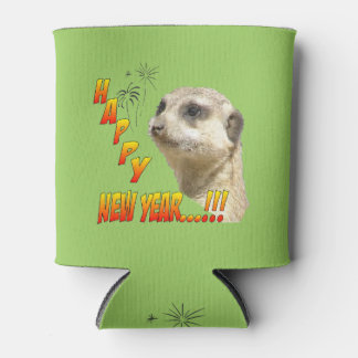 Happy New Year Meerkat Can Cooler Customizable