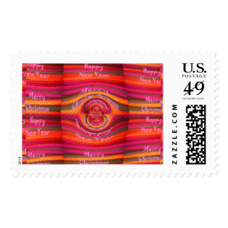 Happy New Year Merry Christmas colors inspired art Postage
