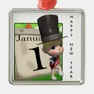 Happy New Year! Metal Ornament