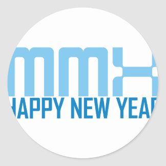 Happy New Year MMX (blue) Classic Round Sticker