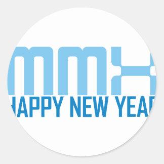 Happy New Year MMX (blue) Classic Round Sticker