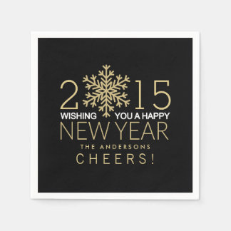 Happy New Year Modern Gold Snowflake Holiday Party Napkin