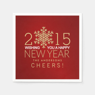 Happy New Year Modern Gold Snowflake Holiday Party Paper Napkin