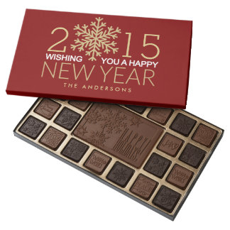 Happy New Year Modern Gold Snowflake Holiday 45 Piece Assorted Chocolate Box