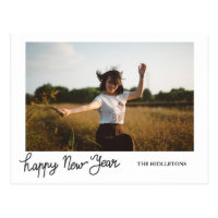 Happy New Year Modern Holiday Typography Photo Postcard