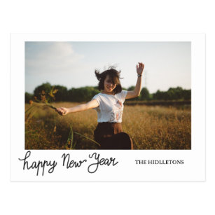 Hy New Year Modern Holiday Typography Photo Postcard