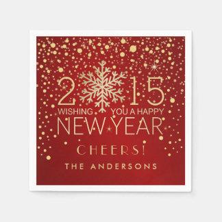 Happy New Year Modern Snowflake Confetti Holiday Paper Napkin