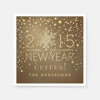 Happy New Year Modern Snowflake Confetti Holiday Disposable Napkins