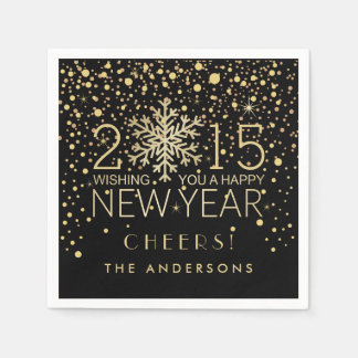Happy New Year Modern Snowflake Confetti Holiday Paper Napkin