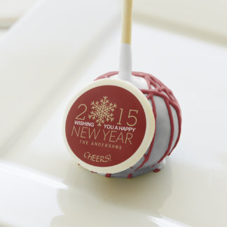 Happy New Year Modern Snowflake Holiday Confetti Cake Pops