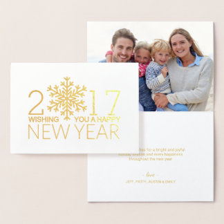 Happy New Year Modern Snowflake Holiday Foil Foil Card