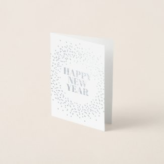 Happy New Year Modern Sparkler Foil Card