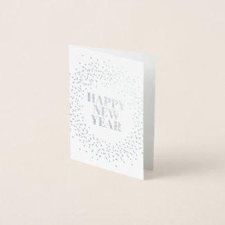 Happy New Year Modern Sparkler Foil Card