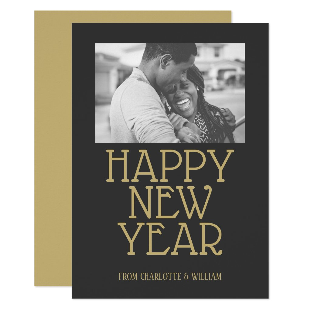 Happy New Year Modern Typography Personalized Card