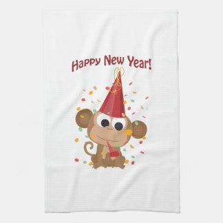 Happy New Year Monkey Kitchen Towels