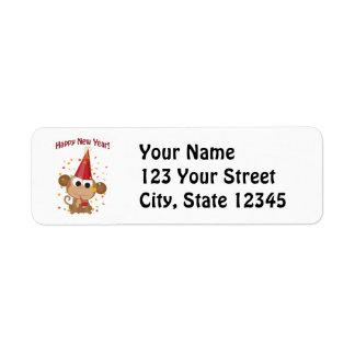 Happy New Year Monkey Return Address Label