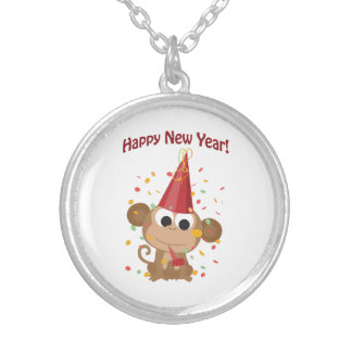 Happy New Year Monkey Silver Plated Necklace
