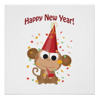 Happy New Year Monkey Perfect Poster