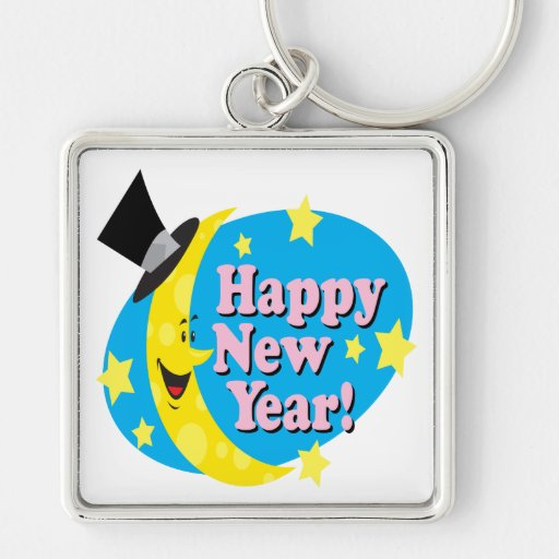 Happy New Year Moon Silver-Colored Square Keychain