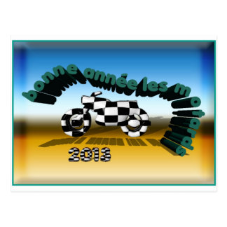 happy new year motorcyclists postcards