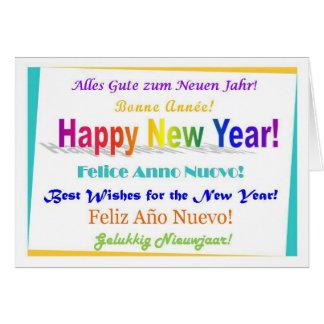 Happy New Year - multilingual Greeting Card
