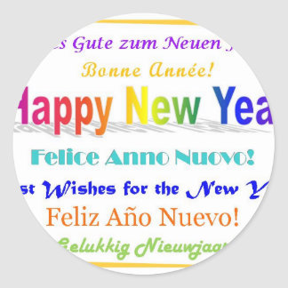Happy New Year - multilingual Classic Round Sticker