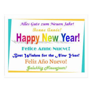 Happy New Year - multilingual Postcard
