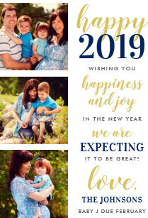 happy new year navy and gold expecting in 2019 holiday card