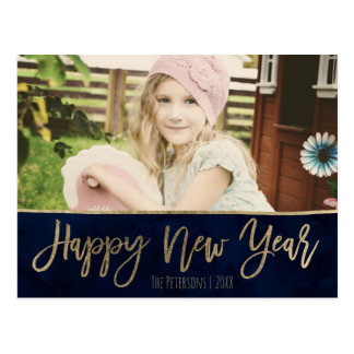 Happy New Year navy blue gold typography photo Postcard