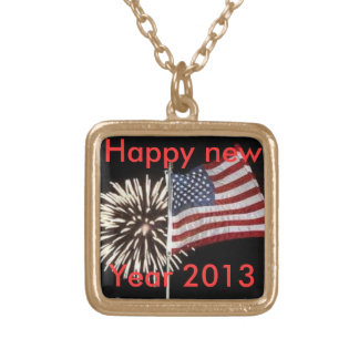 Happy new year necklace  with gold chain