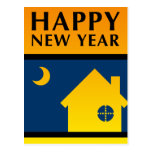 happy new year new address announcement post card