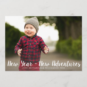happy new year new adventures custom family photo holiday card