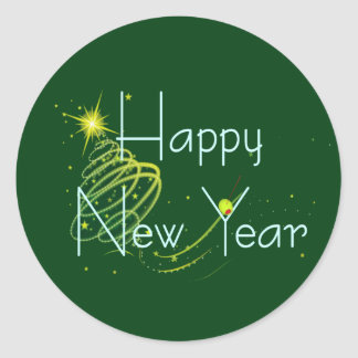 HAPPY NEW YEAR OLIVE by SHARON SHARPE Classic Round Sticker