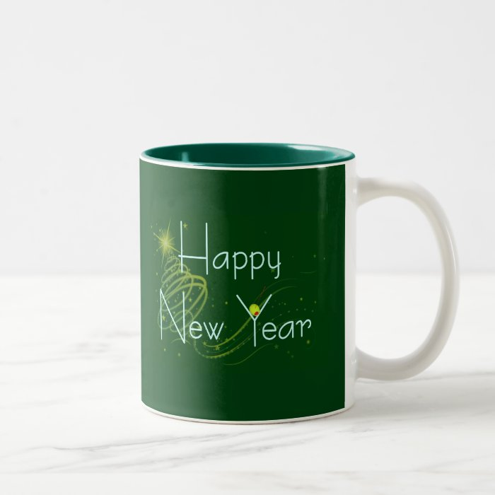 HAPPY NEW YEAR OLIVE by SHARON SHARPE Two-Tone Coffee Mug