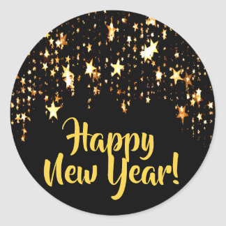 Happy New Year on black with shining stars Classic Round Sticker