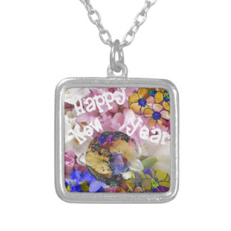 Happy New year on Earth. Silver Plated Necklace