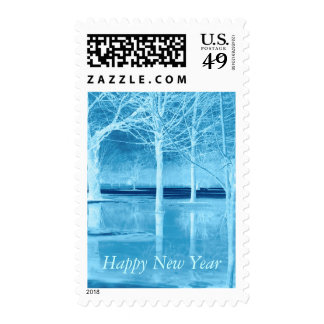 Happy New Year on Ice Postage